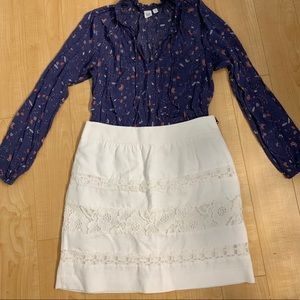 Loft white lace inset skirt